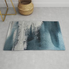 Navy Blue Silver Gray Abstract Painting Rug