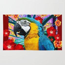 DecorativeTropical Blue Macaw  Hibiscus Flowers Rug