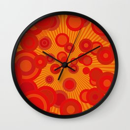 Colorful Funky Orange Red Retro Circle Pattern Wall Clock