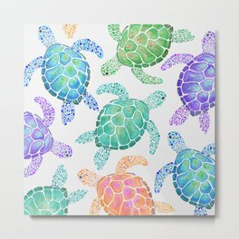 Sea Turtle - Colour Metal Print