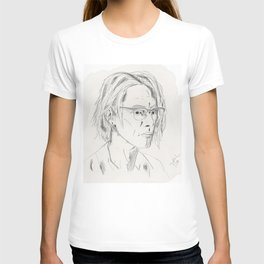 Sketch Portrait of a Man with Glasses T-shirt