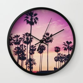 Sunset Palms Purple Tropical Sky Wall Clock