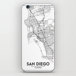 Minimal City Maps - Map Of San Diego, California, United States iPhone Skin