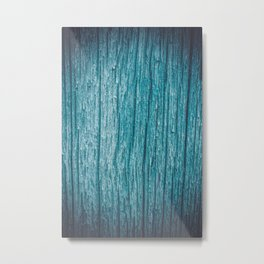 Old piece of wood painted blue and worn by the passage of time Metal Print