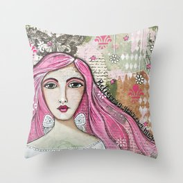 Believe in Your Own Magic Mixed Media Fairy Girl Throw Pillow