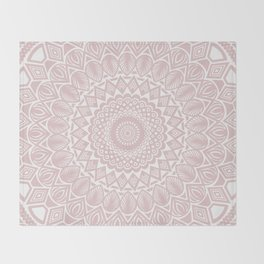 Light Rose Gold Mandala Minimal Minimalistic Throw Blanket