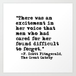 Excitement in her voice ― Fitzgerald quote Art Print