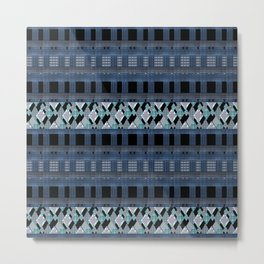 Black blue braided textiles . Metal Print