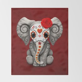 Deep Red Day of the Dead Sugar Skull Baby Elephant Throw Blanket