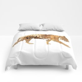 Tiger tripple exposure Comforters