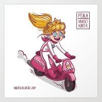 princess peach Art Prints featuring Princess Peach by Andrea Alcaraz