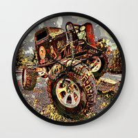 truck Wall Clocks featuring mud truck by Vector Art
