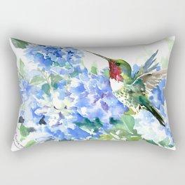 Hydrangea Flowers and Ruby Throat Hummingbird Rectangular Pillow