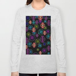 skull art portrait and roses in pink purple blue yellow with black background Long Sleeve T-shirt