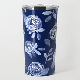Hand painted navy blue white watercolor floral roses pattern Travel Mug