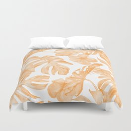 Island Vacation Hibiscus Palm Leaf Coral Orange Duvet Cover