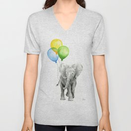 Elephant Watercolor Baby Animal with Balloons Blue Yellow Green Unisex V-Neck