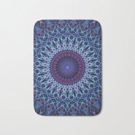 Mandala in dark and light blue tones Bath Mat