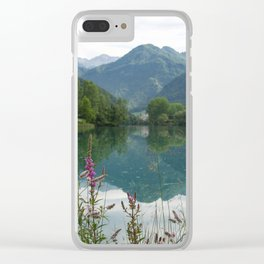 Mountain reflection  on lake Clear iPhone Case
