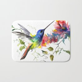 Hummingbird, tropical Foliage, Hawaiian design, tropical, colors Bath Mat