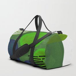 Modern Mid Century Fun Colorful Abstract Minimalist Painting Shapes & Patterns Swamp Monster Greens Duffle Bag