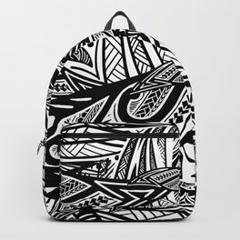 Black And White Poly Print Backpack