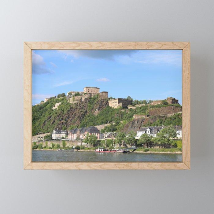 Koblenz mit Festung Ehrenbreitstein Framed Mini Art Print