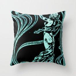 art nouveau, belle époque,vintage,naked female,victorian,floral pattern, elegant,teal,black,beautifu Throw Pillow