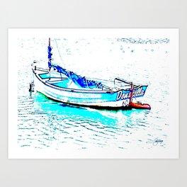 Aqua Boat Art Print
