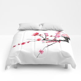 red plum flower Comforters