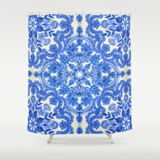 Cobalt Blue & China White Folk Art Pattern Shower Curtain