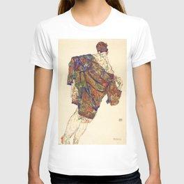 Woman in multicolourd coat by Egon Schielle T-shirt