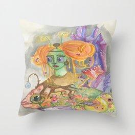 Glow fish Cave of life Throw Pillow