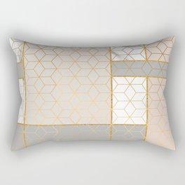 Golden Pastel Marble Geometric Design Rectangular Pillow