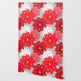 Modern Floral Kimono Print, Coral Red and Gray Wallpaper