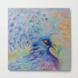 Blue Bird Fancy colorful bird Wildlife illustration Impressionistic painting of nature Metal Print