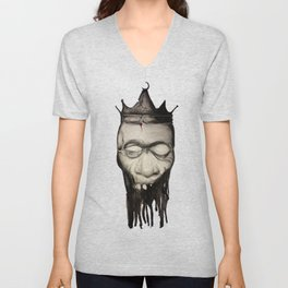 Rotten heads of kings with crowns. Unisex V-Neck