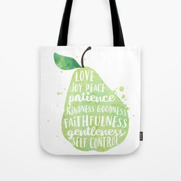 Watercolor pear | Fruit of the spirit | Green watercolor pear art print Tote Bag