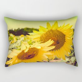 Yellow Summer Sunflower Rectangular Pillow