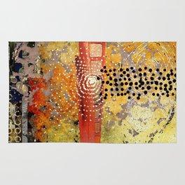 Orange Gold Burst Abstract Art Collage Rug