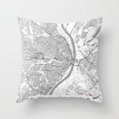 St Louis Map Line Throw Pillow