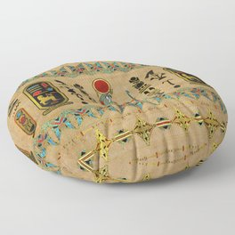 Egyptian Re-Horakhty  - Ra-Horakht  Ornament on papyrus Floor Pillow