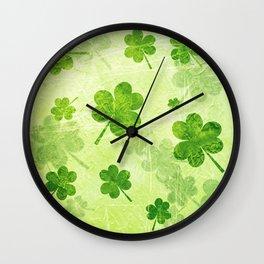 Green Shamrocks Wall Clock