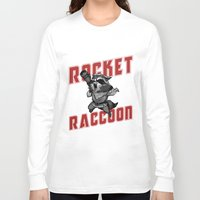 rocket raccoon Long Sleeve T-shirts featuring The Raccoon by Twinky Wood