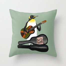 Penguin Busking Throw Pillow