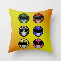 power ranger Throw Pillows featuring Mighty Morphin Power Ranger Headz by Omnibit Designs