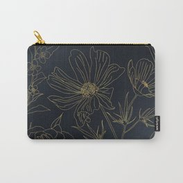 Elegant Gold Flowers outlines Blue gradient design Carry-All Pouch