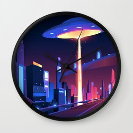 Synthwave Neon City #18 Wall Clock