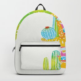 Bright cactus art. Colourful pot of plants. Backpack