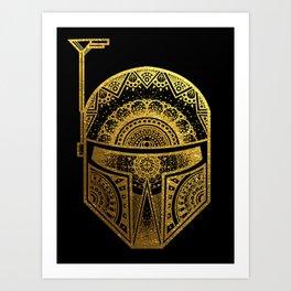 Mandala BobaFett - Gold Foil Art Print